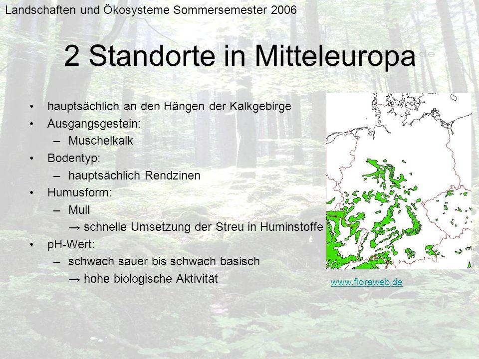 Landschaften und Ökosysteme Sommersemester 2006 2 Standorte in Mitteleuropa hauptsächlich an den Hängen der Kalkgebirge Ausgangsgestein: –Muschelkalk