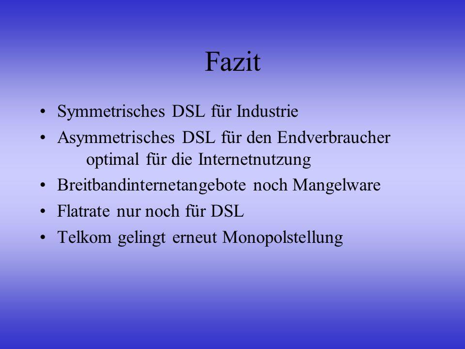 Fazit Symmetrisches DSL für Industrie Asymmetrisches DSL für den Endverbraucher optimal für die Internetnutzung Breitbandinternetangebote noch Mangelw