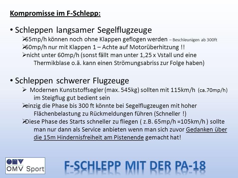 Kompromisse im F-Schlepp: Schleppen langsamer Segelflugzeuge 65mp/h können noch ohne Klappen geflogen werden – Beschleunigen ab 300ft 60mp/h nur mit Klappen 1 – Achte auf Motorüberhitzung !.