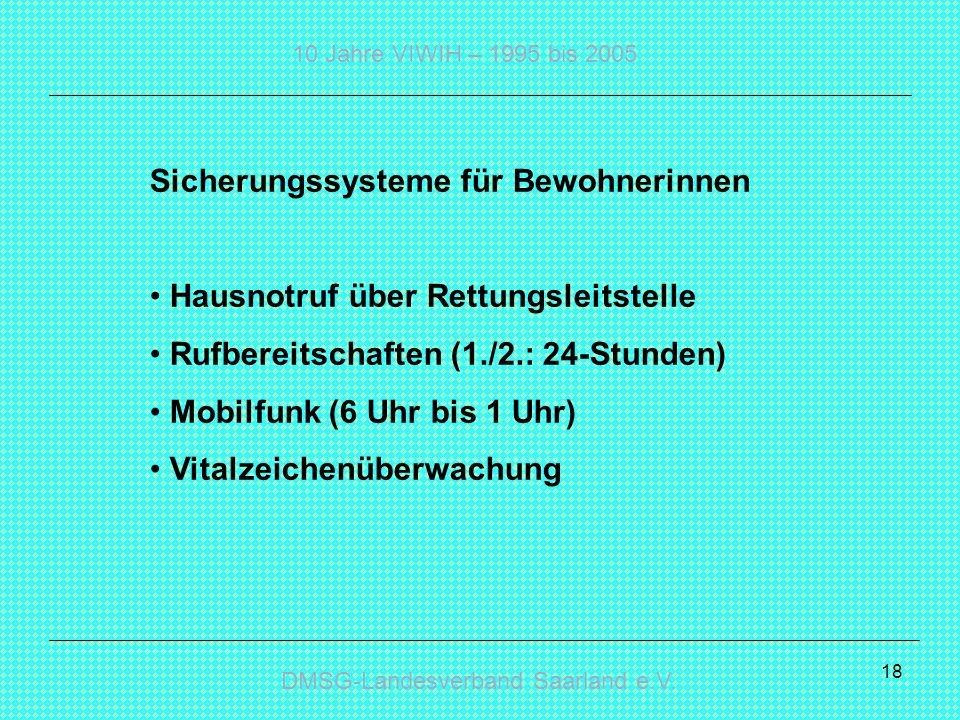 DMSG-Landesverband Saarland e.V. 10 Jahre VIWIH – 1995 bis 2005 18 Sicherungssysteme für Bewohnerinnen Hausnotruf über Rettungsleitstelle Rufbereitsch