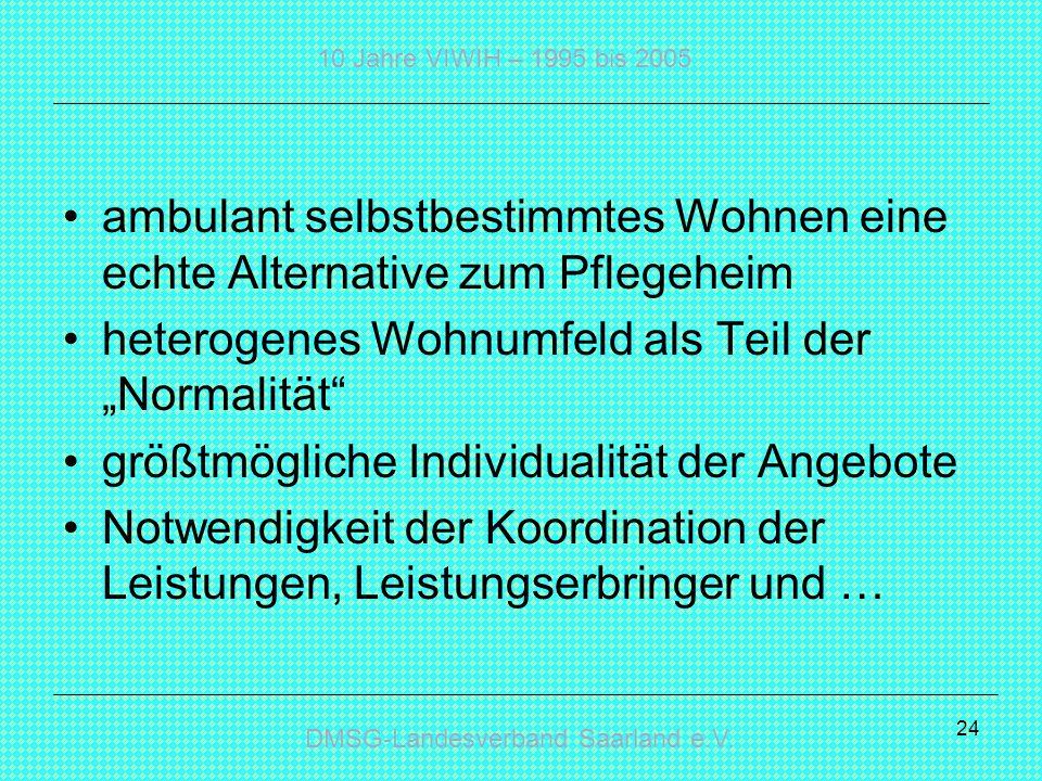 DMSG-Landesverband Saarland e.V. 10 Jahre VIWIH – 1995 bis 2005 24 ambulant selbstbestimmtes Wohnen eine echte Alternative zum Pflegeheim heterogenes