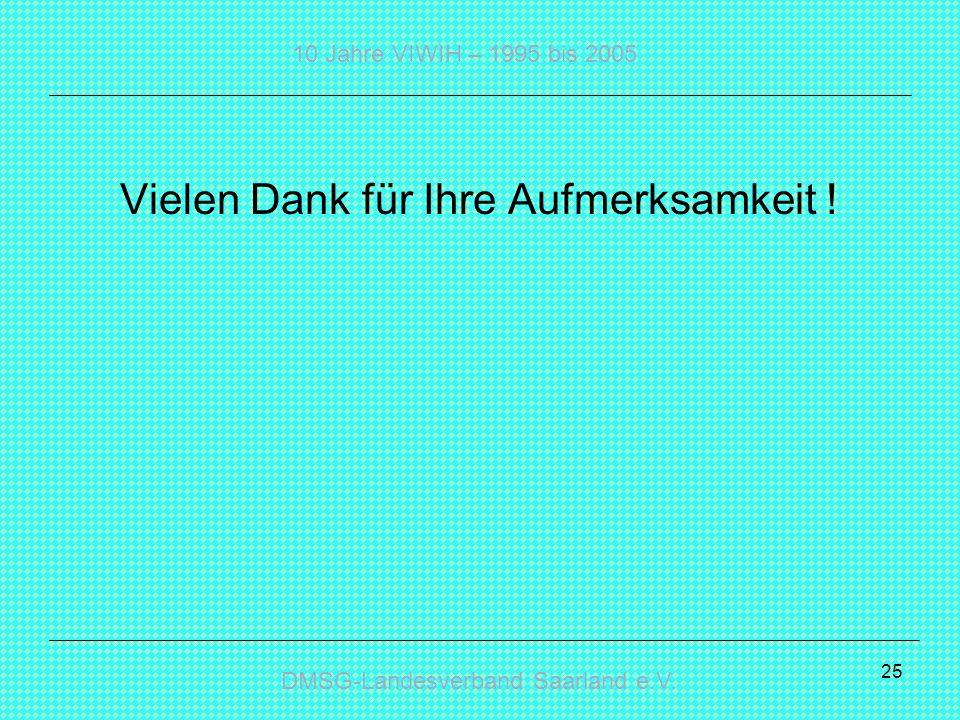 DMSG-Landesverband Saarland e.V. 10 Jahre VIWIH – 1995 bis 2005 25 Vielen Dank für Ihre Aufmerksamkeit !