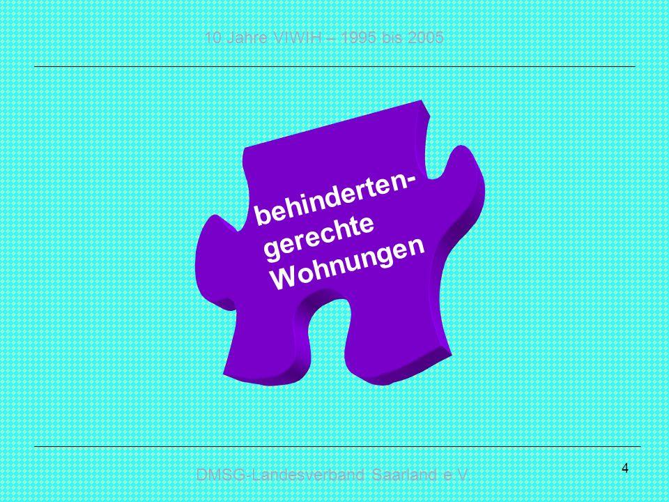 DMSG-Landesverband Saarland e.V.10 Jahre VIWIH – 1995 bis 2005 15 Wer koordiniert.