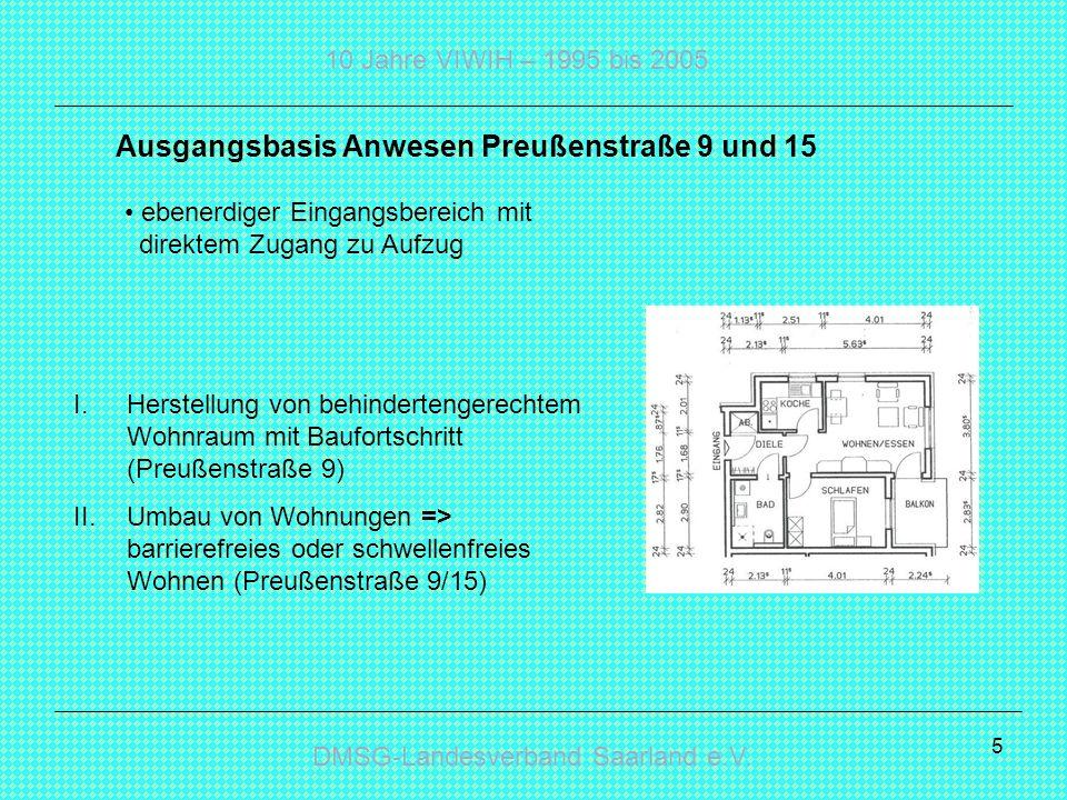 DMSG-Landesverband Saarland e.V. 10 Jahre VIWIH – 1995 bis 2005 5 I.Herstellung von behindertengerechtem Wohnraum mit Baufortschritt (Preußenstraße 9)
