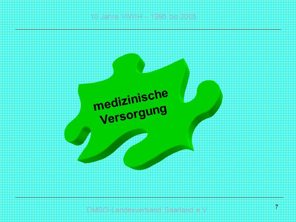DMSG-Landesverband Saarland e.V. 10 Jahre VIWIH – 1995 bis 2005 7 medizinische Versorgung