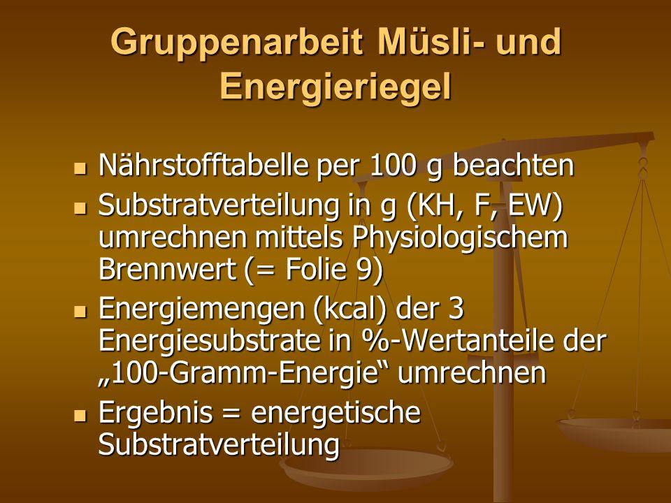 Gruppenarbeit Müsli- und Energieriegel Nährstofftabelle per 100 g beachten Nährstofftabelle per 100 g beachten Substratverteilung in g (KH, F, EW) umr