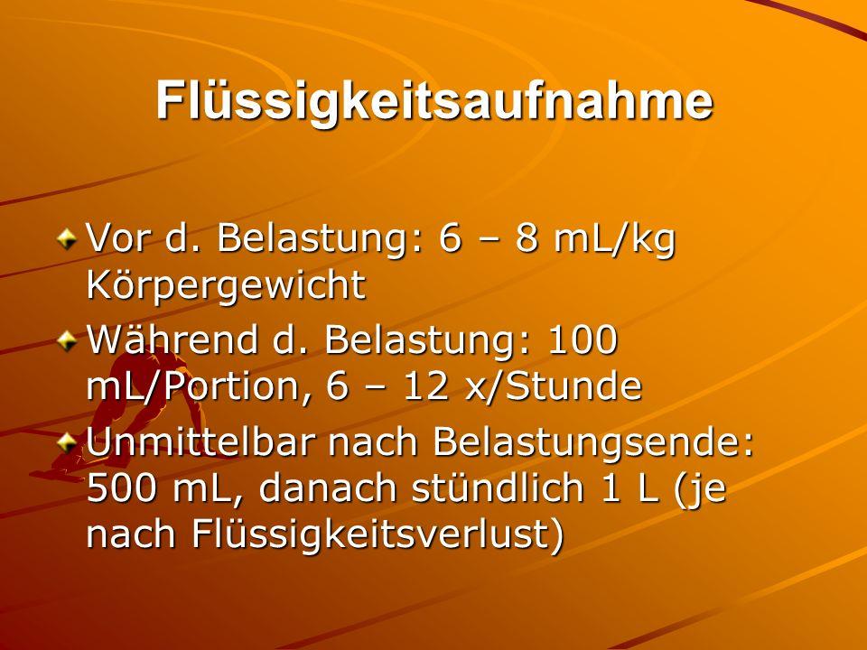 Flüssigkeitsaufnahme Vor d. Belastung: 6 – 8 mL/kg Körpergewicht Während d. Belastung: 100 mL/Portion, 6 – 12 x/Stunde Unmittelbar nach Belastungsende