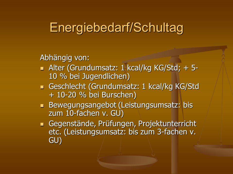 Energiebedarf/Schultag Abhängig von: Alter (Grundumsatz: 1 kcal/kg KG/Std; + 5- 10 % bei Jugendlichen) Alter (Grundumsatz: 1 kcal/kg KG/Std; + 5- 10 %
