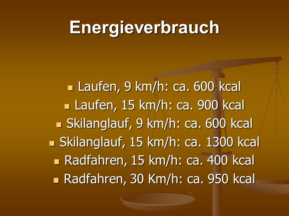 Energieverbrauch Laufen, 9 km/h: ca. 600 kcal Laufen, 9 km/h: ca. 600 kcal Laufen, 15 km/h: ca. 900 kcal Laufen, 15 km/h: ca. 900 kcal Skilanglauf, 9