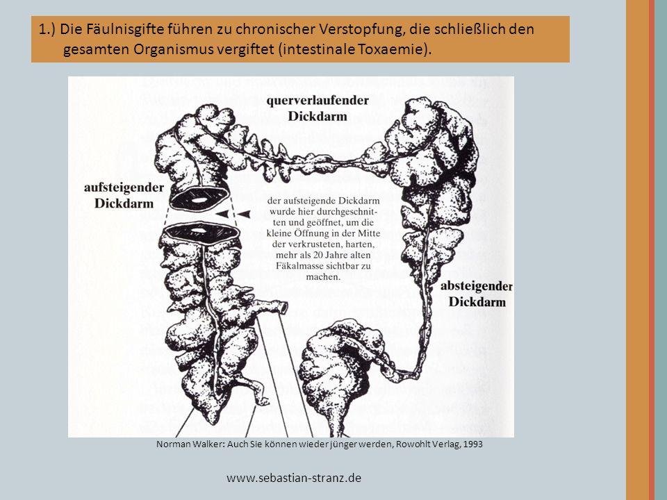 www.sebastian-stranz.de Norman Walker: Auch Sie können wieder jünger werden, Rowohlt Verlag, 1993 1.) Die Fäulnisgifte führen zu chronischer Verstopfu