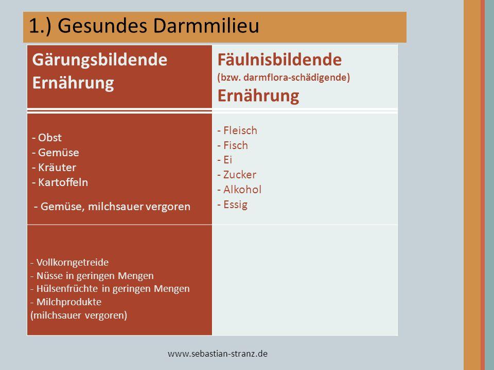 www.sebastian-stranz.de 1.) Gesundes Darmmilieu Basische Ernährung Übersäuernde Ernährung - Obst - Gemüse - Kräuter - Kartoffeln - Fleisch - Fisch - E