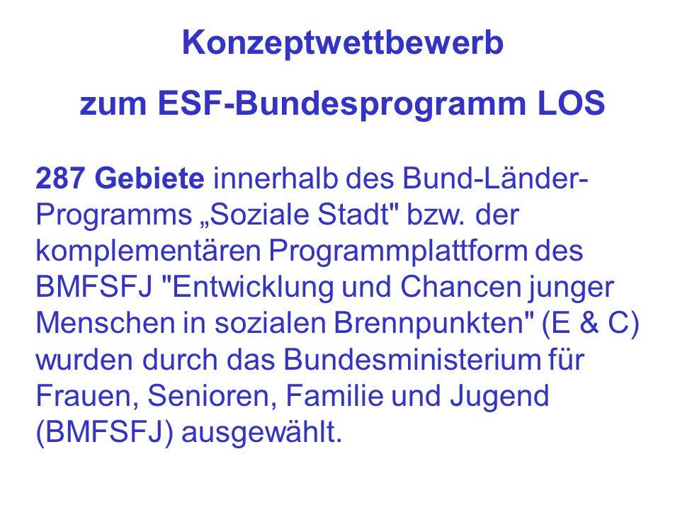 Konzeptwettbewerb zum ESF-Bundesprogramm LOS 287 Gebiete innerhalb des Bund-Länder- Programms Soziale Stadt bzw.