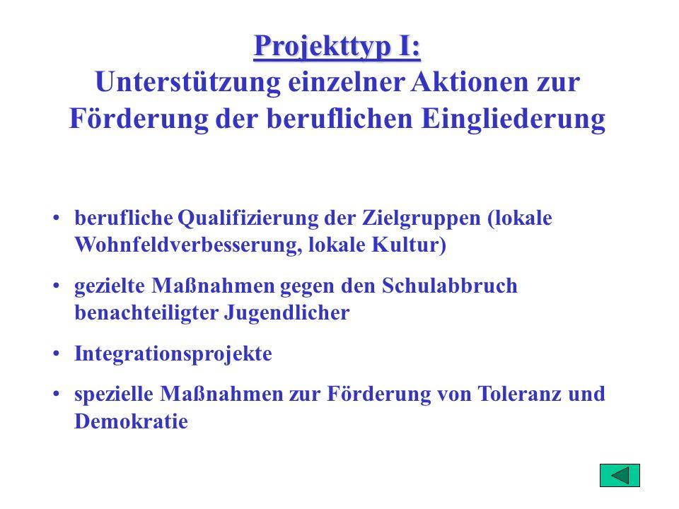 Geförderte Inhalte Projektgruppen Berufliche Eingliederung Netzwerkbildung Existenzgründung