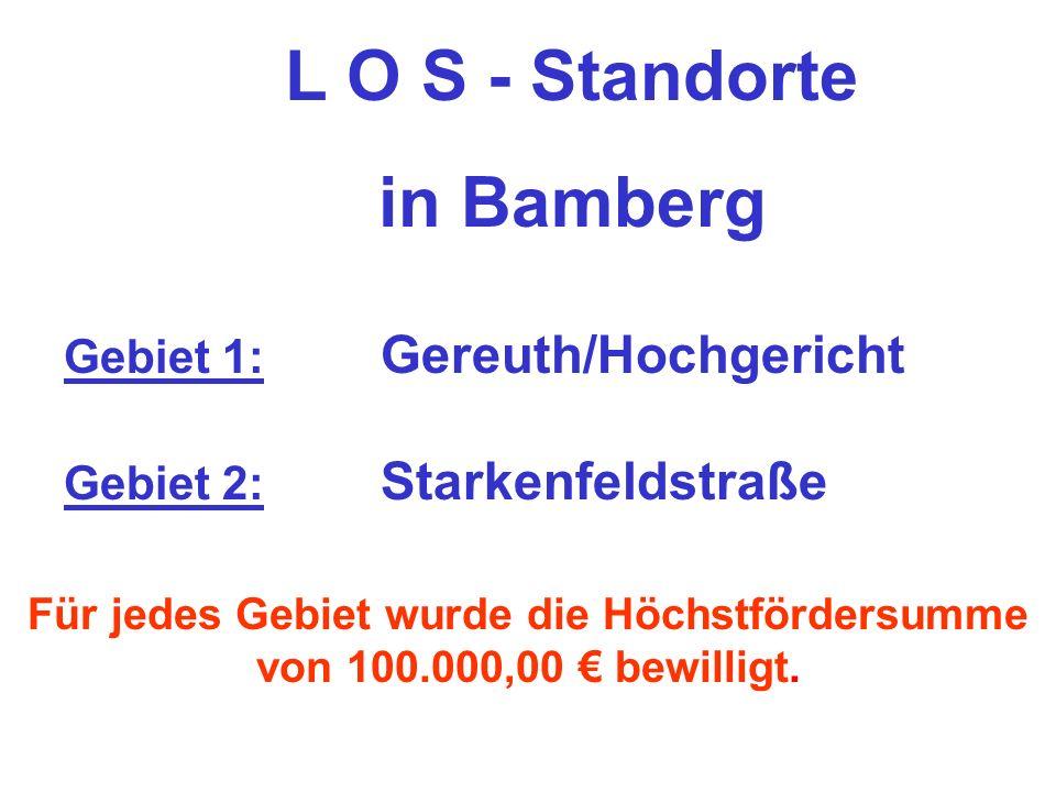 L O S - Standorte in Bamberg Für jedes Gebiet wurde die Höchstfördersumme von 100.000,00 bewilligt.