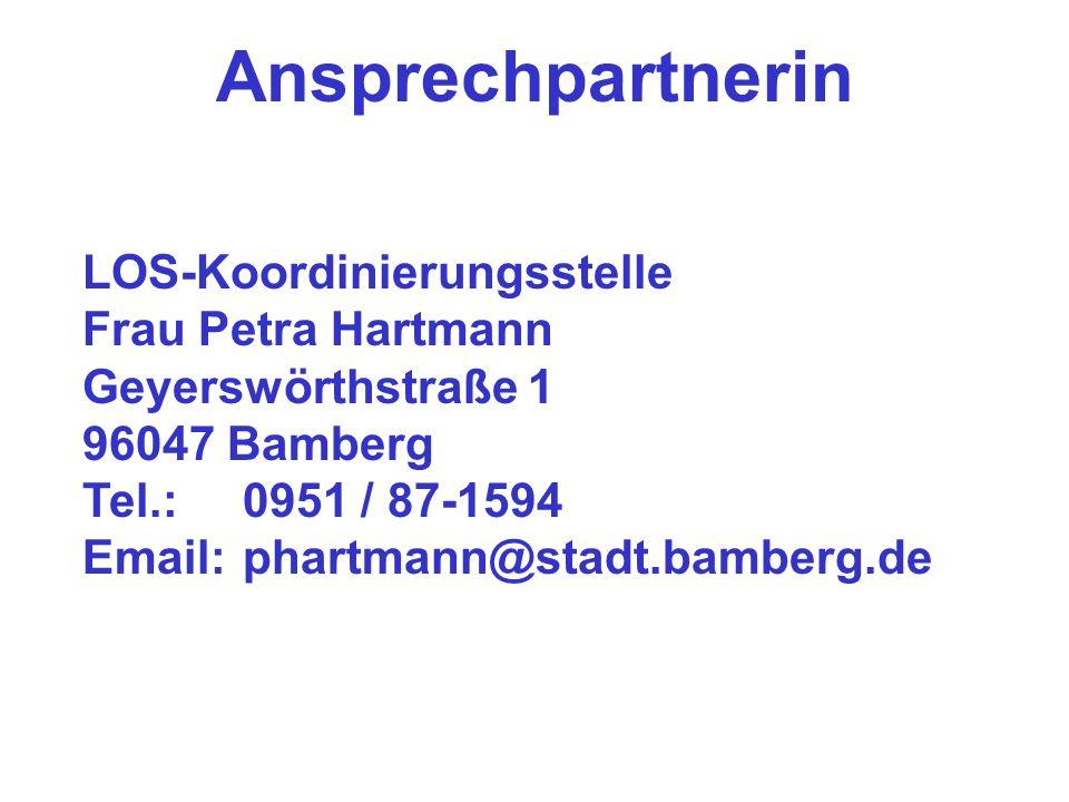 Weitere Informationen Internetseite mit Programmer- läuterungen und Antragsformular der Stadt Bamberg www.los-bamberg.de www.los-bamberg.de Handbücher und Online-Formulare über Regiestelle LOS www.los-online.de www.los-online.de