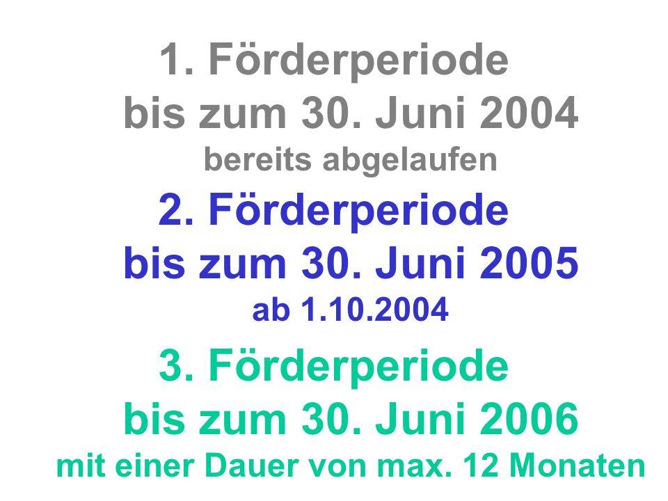 1.Förderperiode bis zum 30. Juni 2004 bereits abgelaufen 2.