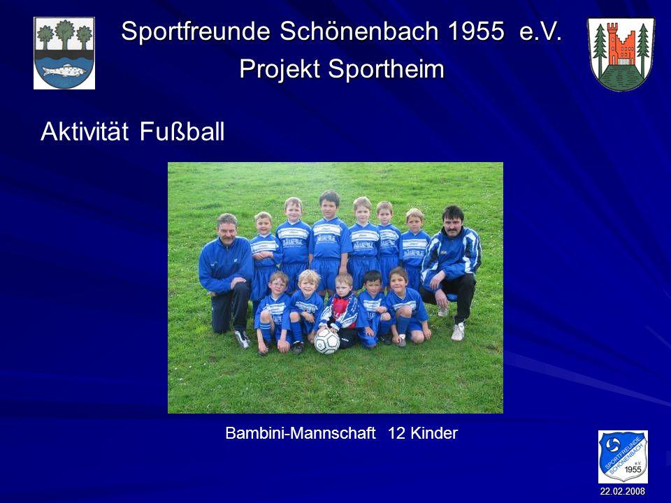 Sportfreunde Schönenbach 1955 e.V. Projekt Sportheim 22.02.2008 Aktivität Fußball Bambini-Mannschaft 12 Kinder