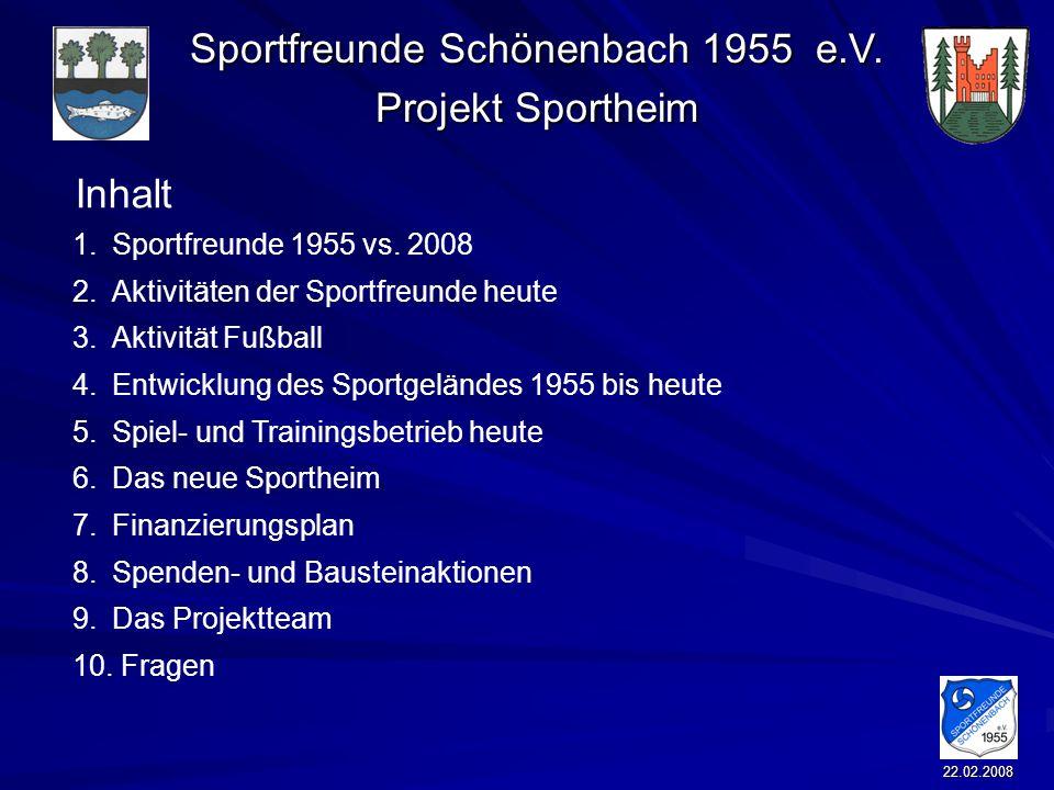 Sportfreunde Schönenbach 1955 e.V. Projekt Sportheim 22.02.2008 Inhalt 1.Sportfreunde 1955 vs. 2008 2.Aktivitäten der Sportfreunde heute 3.Aktivität F
