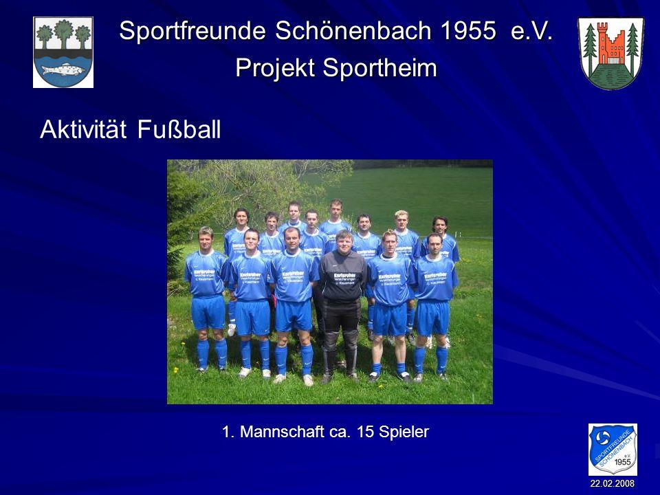 Sportfreunde Schönenbach 1955 e.V. Projekt Sportheim 22.02.2008 Aktivität Fußball 1. Mannschaft ca. 15 Spieler