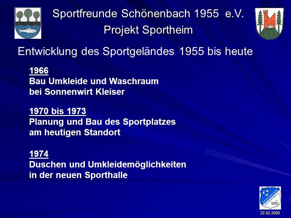 Sportfreunde Schönenbach 1955 e.V. Projekt Sportheim 22.02.2008 Entwicklung des Sportgeländes 1955 bis heute 1966 Bau Umkleide und Waschraum bei Sonne