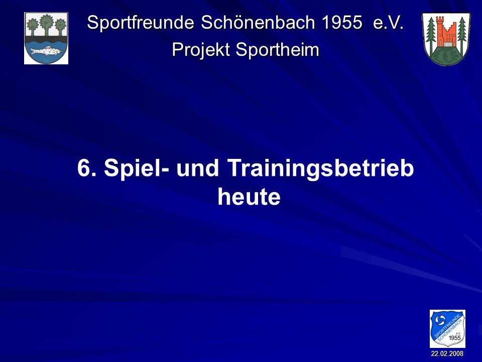 Sportfreunde Schönenbach 1955 e.V. Projekt Sportheim 22.02.2008 6. Spiel- und Trainingsbetrieb heute