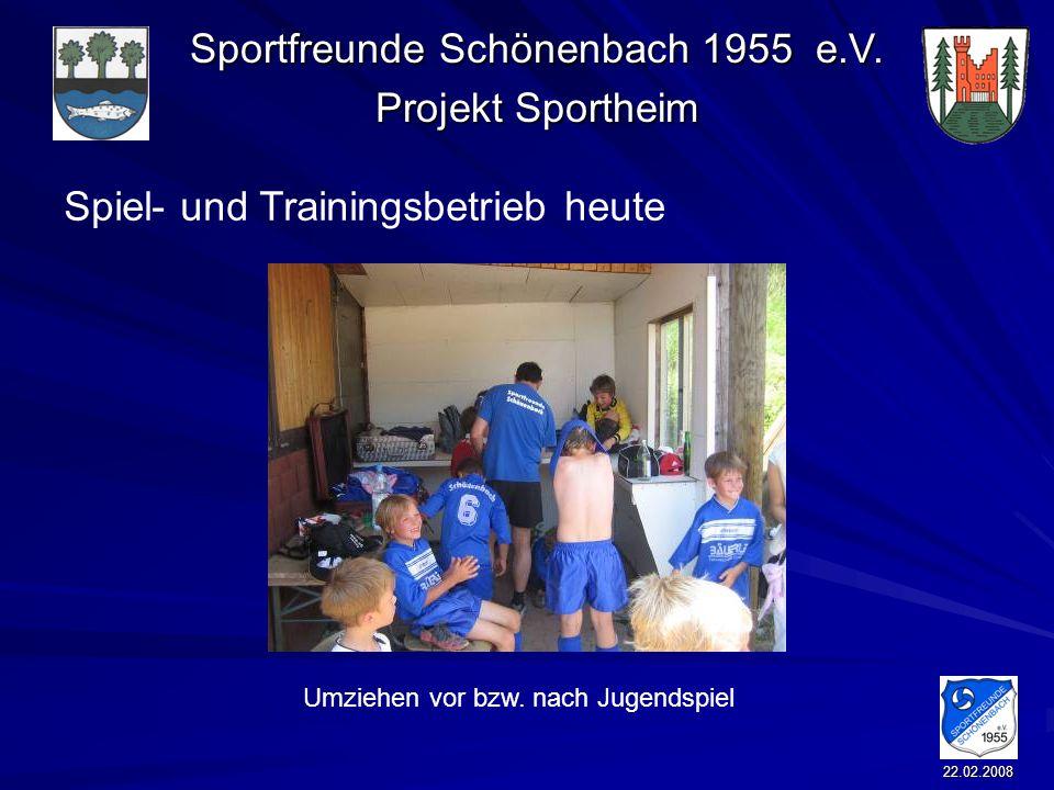 Sportfreunde Schönenbach 1955 e.V. Projekt Sportheim 22.02.2008 Spiel- und Trainingsbetrieb heute Umziehen vor bzw. nach Jugendspiel