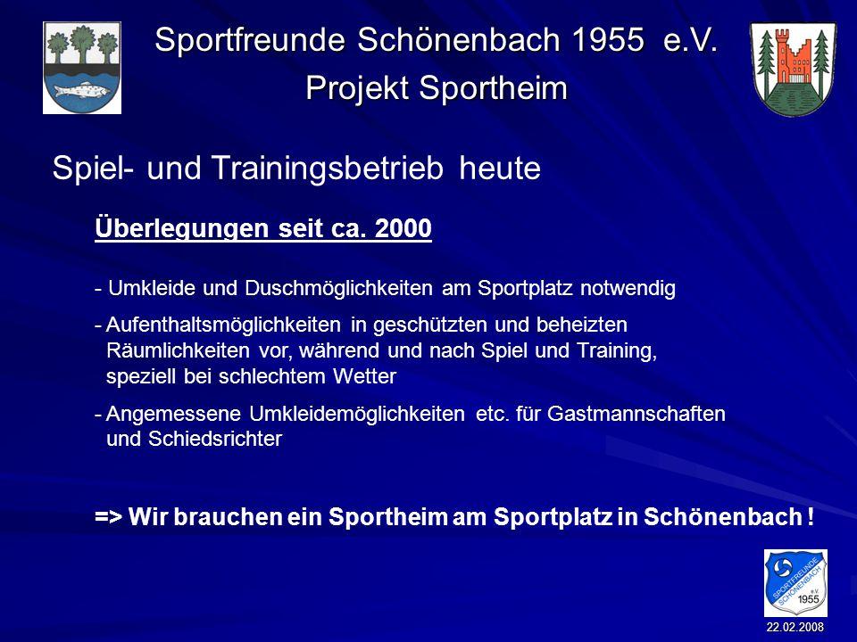 Sportfreunde Schönenbach 1955 e.V. Projekt Sportheim 22.02.2008 Überlegungen seit ca. 2000 - Umkleide und Duschmöglichkeiten am Sportplatz notwendig -