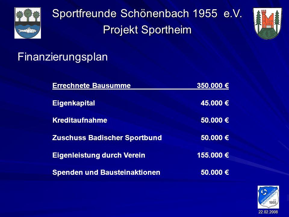 Sportfreunde Schönenbach 1955 e.V. Projekt Sportheim 22.02.2008 Finanzierungsplan Errechnete Bausumme 350.000 Eigenkapital 45.000 Kreditaufnahme 50.00