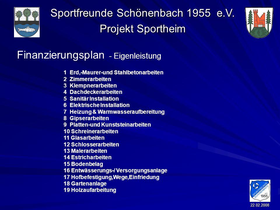 Sportfreunde Schönenbach 1955 e.V. Projekt Sportheim 22.02.2008 Finanzierungsplan - Eigenleistung 1 Erd,-Maurer-und Stahlbetonarbeiten 2 Zimmerarbeite