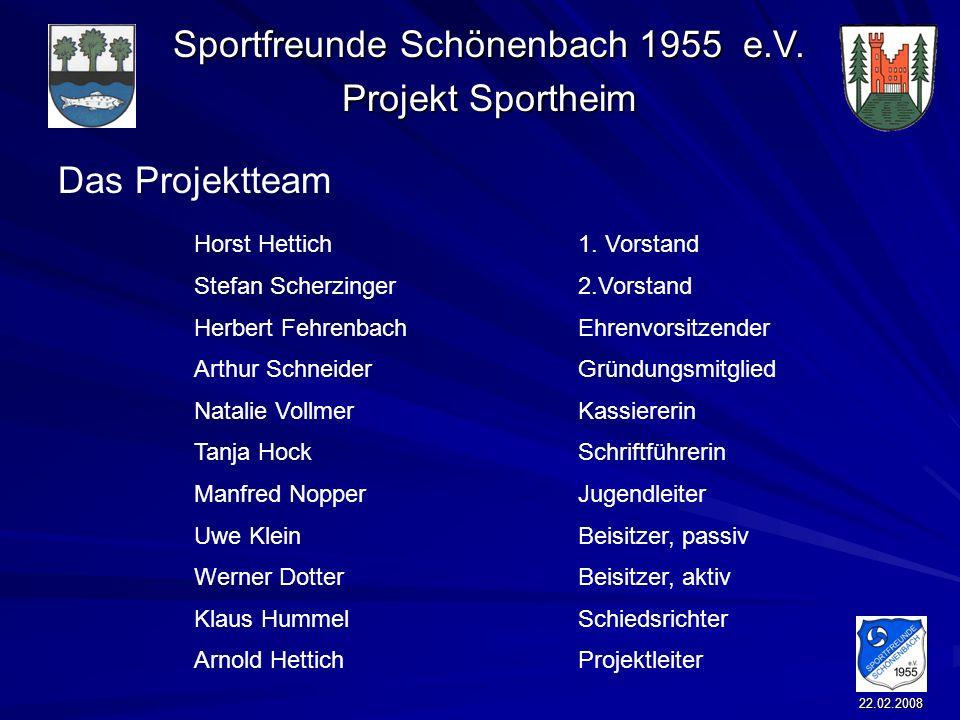 Sportfreunde Schönenbach 1955 e.V. Projekt Sportheim 22.02.2008 Das Projektteam Horst Hettich 1. Vorstand Stefan Scherzinger2.Vorstand Herbert Fehrenb