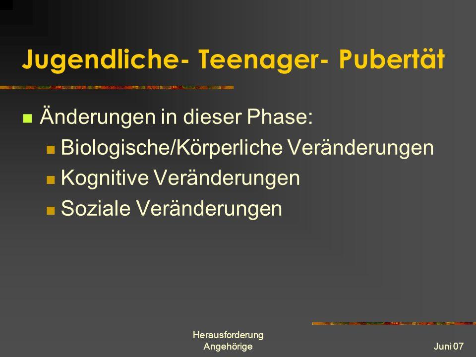 Herausforderung AngehörigeJuni 07 Jugendliche- Teenager- Pubertät Änderungen in dieser Phase: Biologische/Körperliche Veränderungen Kognitive Veränderungen Soziale Veränderungen