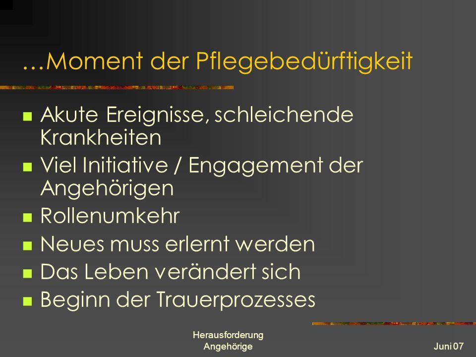 Herausforderung AngehörigeJuni 07 …Moment der Pflegebedürftigkeit Akute Ereignisse, schleichende Krankheiten Viel Initiative / Engagement der Angehöri