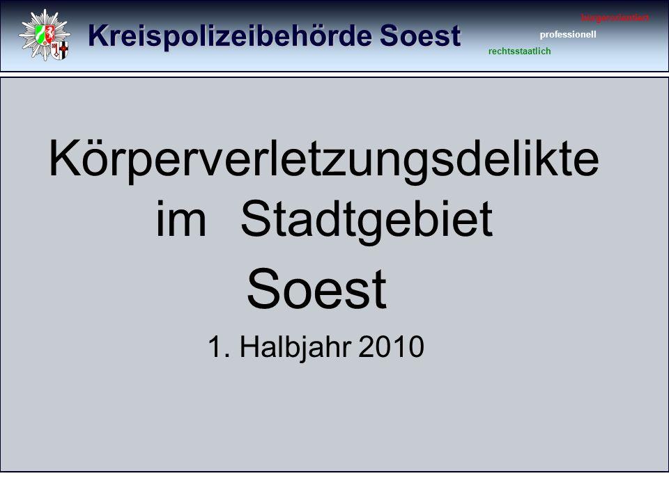 Kreispolizeibehörde Soest bürgerorientiert professionell rechtsstaatlich Körperverletzungsdelikte im Stadtgebiet Soest 1.