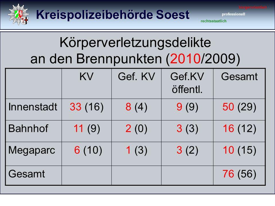 Kreispolizeibehörde Soest bürgerorientiert professionell rechtsstaatlich Körperverletzungsdelikte an den Brennpunkten (2010/2009) KVGef.
