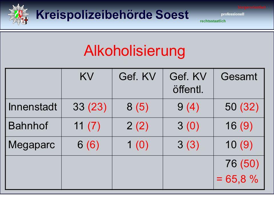 Kreispolizeibehörde Soest bürgerorientiert professionell rechtsstaatlich Alkoholisierung KVGef.
