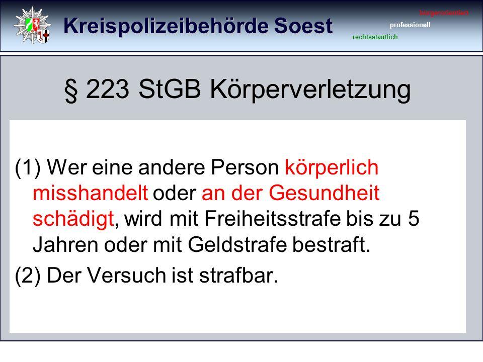 Kreispolizeibehörde Soest bürgerorientiert professionell rechtsstaatlich Tatzeiten nach 02.00 Uhr KVGef.