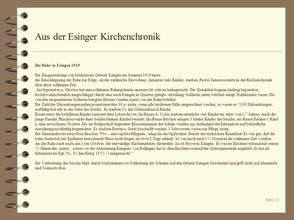 Seite 10 Aus der Esinger Kirchenchronik Die Ruhr in Esingen 1919 Die Einquartierung von Soldaten im Ortsteil Esingen im Sommer 1919 hatte die Einschle