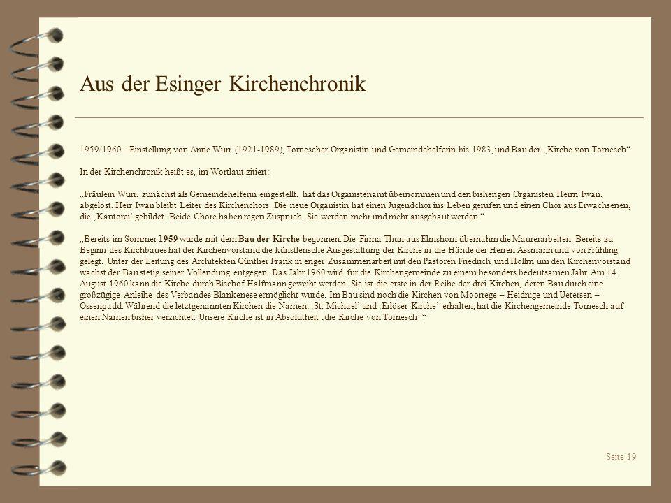 Seite 19 Aus der Esinger Kirchenchronik 1959/1960 – Einstellung von Anne Wurr (1921-1989), Tornescher Organistin und Gemeindehelferin bis 1983, und Ba