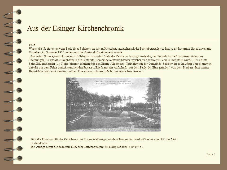 Seite 7 Aus der Esinger Kirchenchronik Das alte Ehrenmal für die Gefallenen des Ersten Weltkriegs auf dem Tornescher Friedhof wie es von 1921 bis 1947