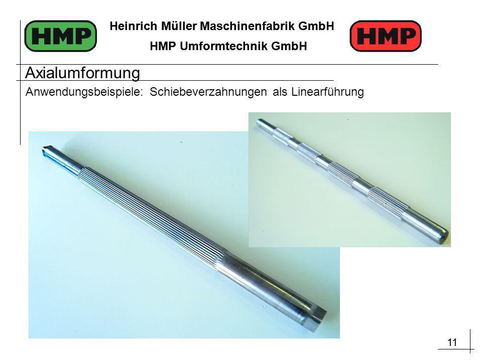 11 Heinrich Müller Maschinenfabrik GmbH HMP Umformtechnik GmbH 11 Heinrich Müller Maschinenfabrik GmbH HMP Umformtechnik GmbH Anwendungsbeispiele: Schiebeverzahnungen als Linearführung Axialumformung