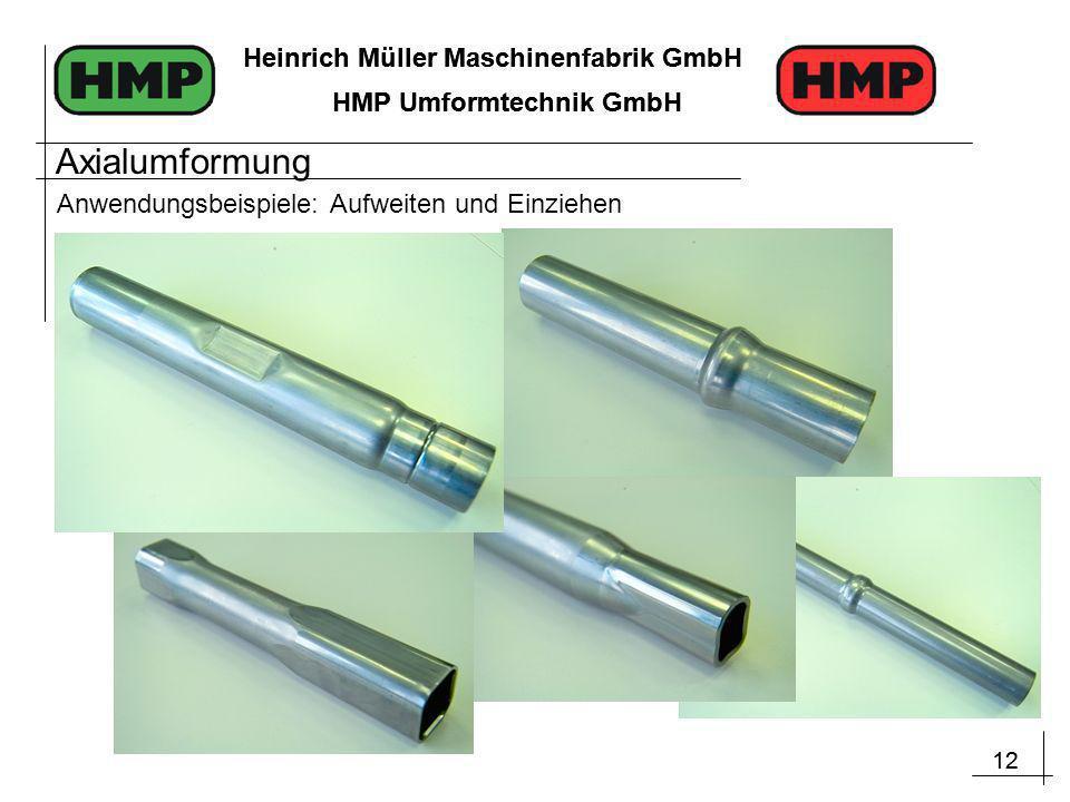 12 Heinrich Müller Maschinenfabrik GmbH HMP Umformtechnik GmbH 12 Heinrich Müller Maschinenfabrik GmbH HMP Umformtechnik GmbH Anwendungsbeispiele: Aufweiten und Einziehen Axialumformung