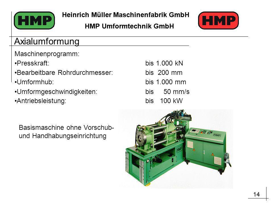 14 Heinrich Müller Maschinenfabrik GmbH HMP Umformtechnik GmbH 14 Heinrich Müller Maschinenfabrik GmbH HMP Umformtechnik GmbH Maschinenprogramm: Press