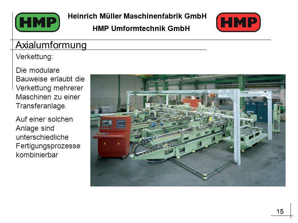 15 Heinrich Müller Maschinenfabrik GmbH HMP Umformtechnik GmbH 15 Heinrich Müller Maschinenfabrik GmbH HMP Umformtechnik GmbH Verkettung: Die modulare Bauweise erlaubt die Verkettung mehrerer Maschinen zu einer Transferanlage.