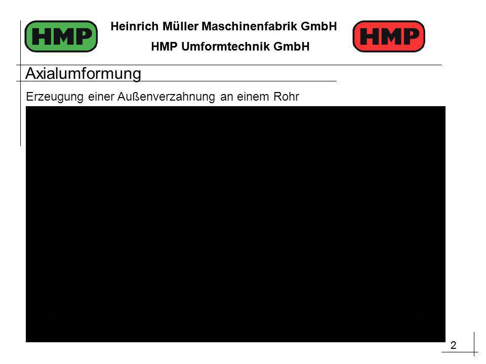 2 Heinrich Müller Maschinenfabrik GmbH HMP Umformtechnik GmbH 2 Heinrich Müller Maschinenfabrik GmbH HMP Umformtechnik GmbH Axialumformung Erzeugung einer Außenverzahnung an einem Rohr