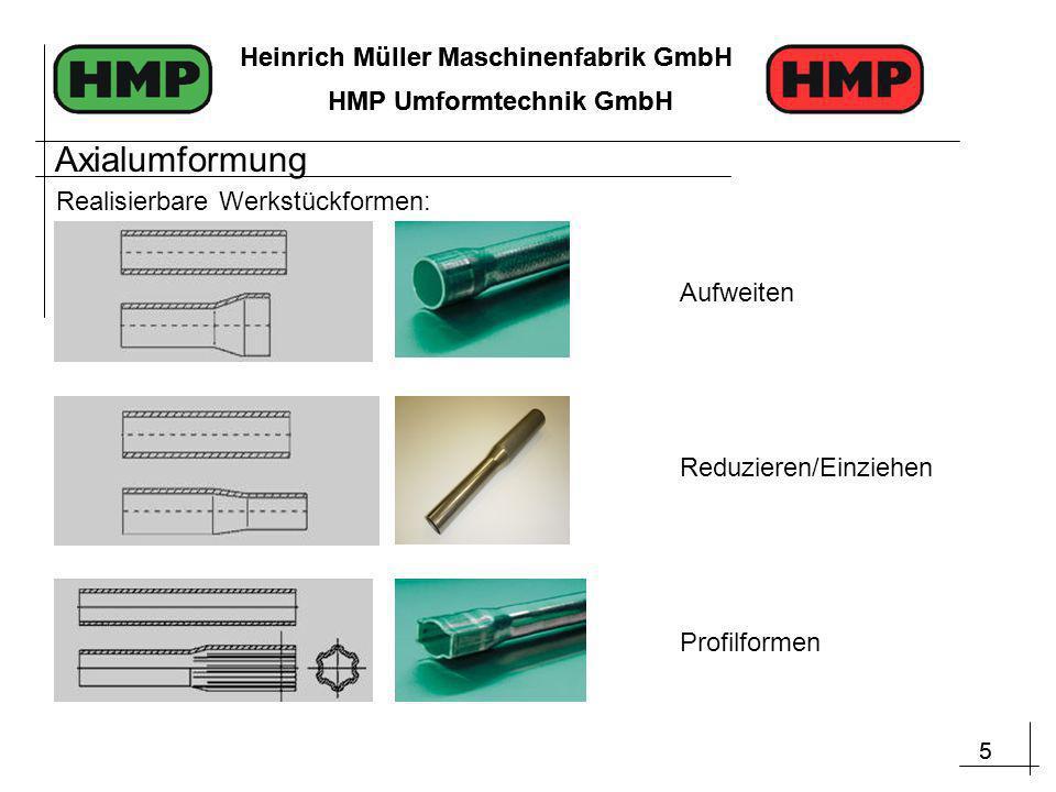 5 Heinrich Müller Maschinenfabrik GmbH HMP Umformtechnik GmbH 5 Heinrich Müller Maschinenfabrik GmbH HMP Umformtechnik GmbH Realisierbare Werkstückformen: Reduzieren/Einziehen Aufweiten Profilformen Axialumformung