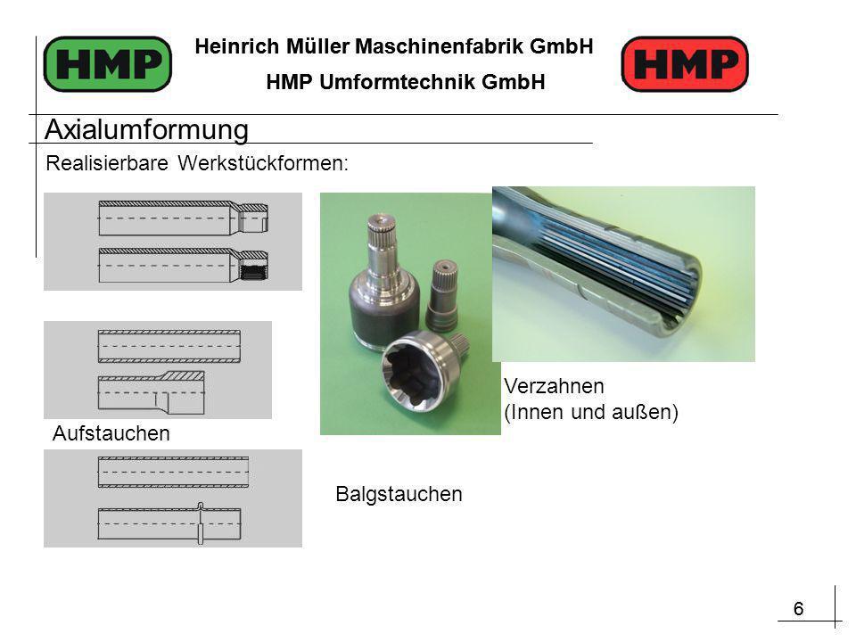 6 Heinrich Müller Maschinenfabrik GmbH HMP Umformtechnik GmbH 6 Heinrich Müller Maschinenfabrik GmbH HMP Umformtechnik GmbH Balgstauchen Verzahnen (Innen und außen) Aufstauchen Realisierbare Werkstückformen: Axialumformung
