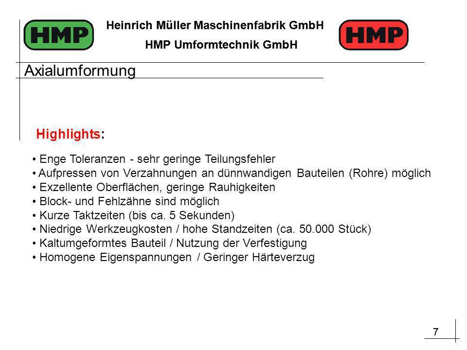 7 Heinrich Müller Maschinenfabrik GmbH HMP Umformtechnik GmbH 7 Heinrich Müller Maschinenfabrik GmbH HMP Umformtechnik GmbH Enge Toleranzen - sehr geringe Teilungsfehler Aufpressen von Verzahnungen an dünnwandigen Bauteilen (Rohre) möglich Exzellente Oberflächen, geringe Rauhigkeiten Block- und Fehlzähne sind möglich Kurze Taktzeiten (bis ca.
