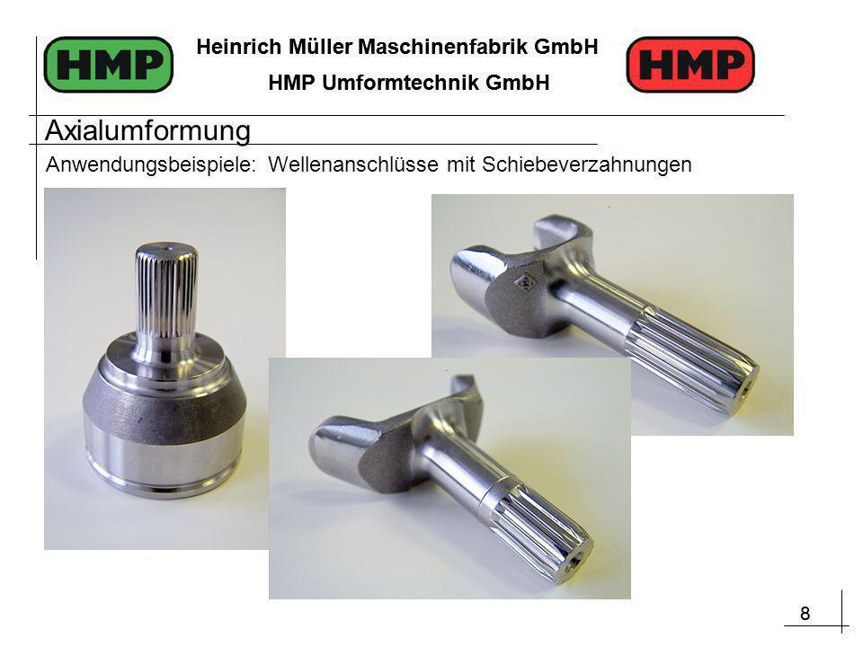 8 Heinrich Müller Maschinenfabrik GmbH HMP Umformtechnik GmbH 8 Heinrich Müller Maschinenfabrik GmbH HMP Umformtechnik GmbH Anwendungsbeispiele: Wellenanschlüsse mit Schiebeverzahnungen Axialumformung