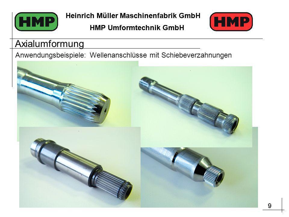 9 Heinrich Müller Maschinenfabrik GmbH HMP Umformtechnik GmbH 9 Heinrich Müller Maschinenfabrik GmbH HMP Umformtechnik GmbH Anwendungsbeispiele: Wellenanschlüsse mit Schiebeverzahnungen Axialumformung