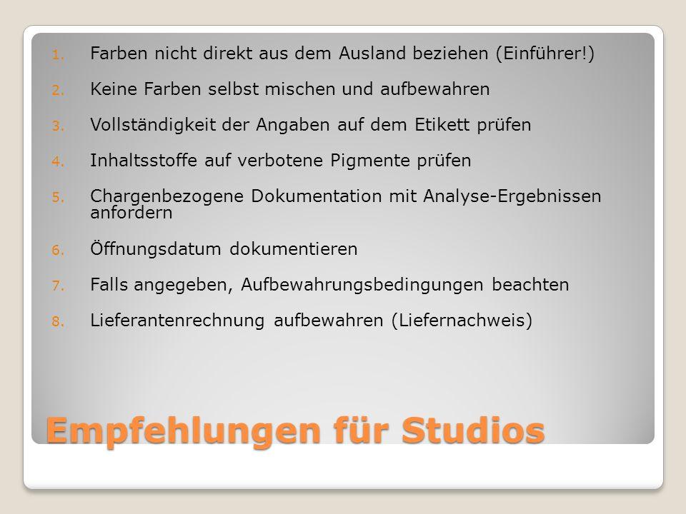 Empfehlungen für Studios 1. Farben nicht direkt aus dem Ausland beziehen (Einführer!) 2. Keine Farben selbst mischen und aufbewahren 3. Vollständigkei